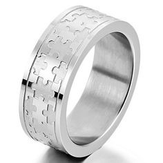 Men& Stainless Steel Ring Band Silver Jigsaw Puzzle Charm Elegant - Jewelry For Her Men's Jewelry Rings, Jewelry For Her, Rings Of Saturn, Puzzle Ring, Steampunk Rings, Mens Stainless Steel Rings, Rings N Things, Steampunk Accessories, Ring Pictures