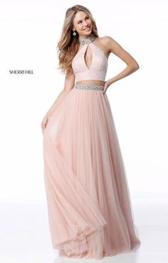 Two piece flowy pink prom dress with key hole neck and bling. Also available in nude and black.