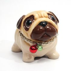 Fawn Pug with Chain Collar and Red Green Bell Handmade Ceramic Figurine Money Coin Saving Box Handmade Painting Home Decor Gifts Made of ceramic high fired at degrees for durability