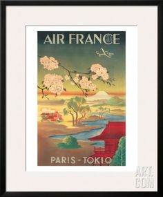 Air France - Paris Tokio (Tokyo) - Mt. Fuji And Cherry Blossoms Framed Giclee Print by Don Perceval at Art.com