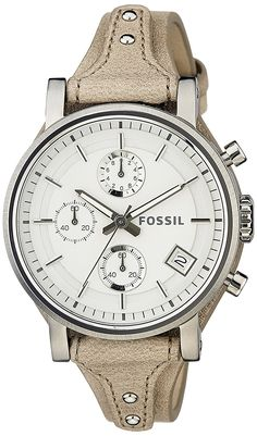 Fossil Women's ES3625 Original Boyfriend Chronograph Stainless Steel Watch with Beige Leather Band ** You can get more details by clicking on the image.