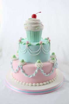 This fondant cupcake cake looks so yummy and girly.  Like the top the best.