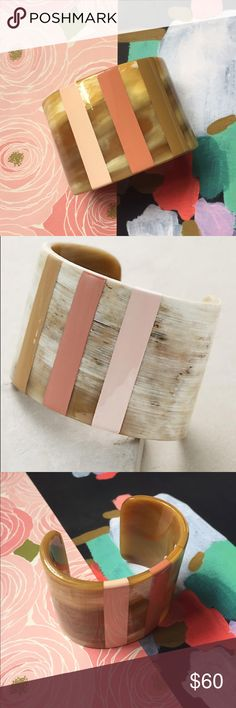 """Anthropologie Horn Stripe Painted Cuff Slatted Horn Cuff Three ombré style painted striped. The ultimate statement bracelet. Horn, acrylic 2""""W, 6.25"""" diameter with 1.35"""" opening Anthropologie Jewelry Bracelets"""
