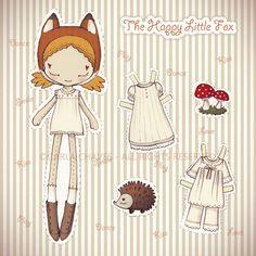 El pequeño zorro feliz muñeca de papel