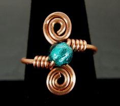 Aqua Blue & Copper Wire Wrapped Ring Hand Crafted by BonzerBeads, $14.00