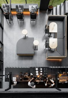 A Material Palette Of Warm Woods And Grey Elements Has Been Used To Create This Contemporary Coffee Shop Interior Coffee Shop Interior Design, Coffee Shop Design, Restaurant Interior Design, Modern Interior Design, Interior Architecture, Modern Restaurant, Design Café, Palette, Small Coffee Shop