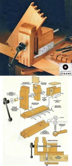 DIY Bench Vise - Workshop Solutions Projects, Tips and Tricks. Workbench Plans, Woodworking Workbench, Woodworking Workshop, Woodworking Guide, Woodworking Crafts, Diy Bench, Bench Vise, Homemade Tools, Wood Tools
