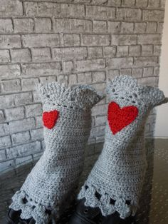 Grey Red Heart Womens Boot Cuffs  Ladies Boot by bosphorusscarf
