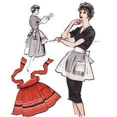 54+Free+Apron+Patterns | ... VINTAGE 1950's McCall's Half Apron Sample SEWING PATTERN from etsy.com
