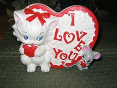 Vintage Napco Valentine Planter Kitten & Mouse
