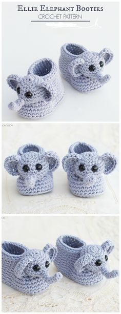 Crochet Baby Booties Crochet Elephant Baby Bootie Free Pattern - Crochet Elephant Free Pattern - Crochet Elephant Softies and More Free Patterns Tutorials: Amigurumi Elephant Toys, Kids, Baby Booties, Hair Tie, Snuggles and Crochet Baby Boots, Booties Crochet, Crochet Bebe, Crochet Baby Clothes, Crochet Slippers, Love Crochet, Crochet Flowers, Crochet Baby Booties Tutorial, Crochet Baby Blanket Beginner