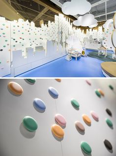 Throughout this fun shoe store, some of the colorful dots that adorn the walls are magnetic, allowing them to be switched out for shelving when needed. #ShoeStore #RetailDesign #InteriorDesign #StoreDesign