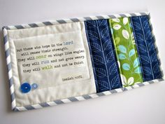 Isaiah 40:31 scripture mini quilt, quilted mug rug, mug mat, made to order