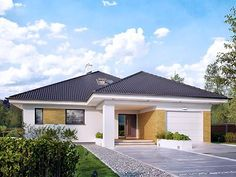 Decyma 7 projekt domu - DOMY w Stylu Beautiful House Plans, Beautiful Homes, Modern Family House, Log Homes, Planer, My House, Building A House, House Design, Mansions