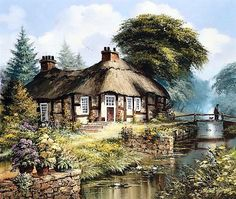 English Cottage 2 - Counted cross stitch pattern in PDF format by Maxispatterns on Etsy