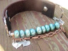 Aqua Freshwater Pearl and Leather Bracelet by YellowCanaryCreation, $28.00