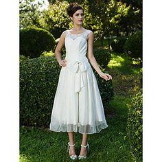A-line Scoop Tea-length Lace Organza Wedding Dress  – USD $ 179.99