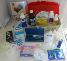 first aid kit for chickens  Lists WHAT to have, WHY to have it. w/ links. FOR MORE INFO ALSO CHECK OUT  http://www.backyardchickens.com/t/517234/medical-treatments-recommended-by-bycers#post_6580204