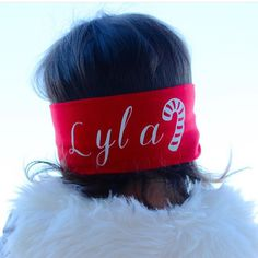 "Need the perfect festive touch this season? Personalize the back of nearly any bow-wrap with the ""seasonal personalized add on"" at Sassybowco.com ---- choose your font, lettering color, and seasonal symbol (candy cane, Christmas tree, or snow flake)"