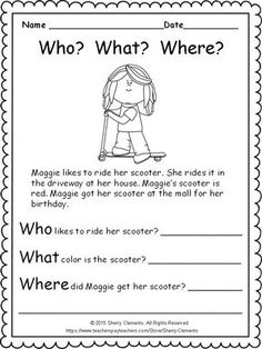 Kindergarten Writing Lesson Plans Elegant Cute Freebie 9 Pages Includes Language Arts and Math Reading Strategies, Reading Activities, Reading Skills, Teaching Reading, Math Skills, 1st Grade Reading Worksheets, First Grade Reading Comprehension, Comprehension Worksheets, Math Lessons