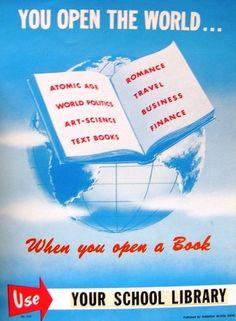 Wonderful Vintage School Library Posters