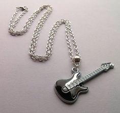 Lange zilveren gitaar ketting ketting van de door AzureAllure