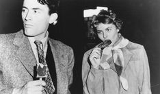 """Gregory Peck and Ingrid Bergman take a break while making Alfred Hitchcock's """"Spellbound"""" (1945)"""