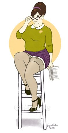 I love these pinups! From jenoaks Etsy shop!. This curvy librarian-type is really making me happy! :)