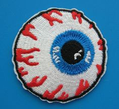 Eyeball Iron On Patch to add to denim back pack