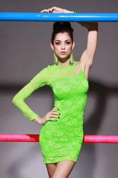 NEON GREEN FLORAL LACE ASYMMETRICAL BARE ONE SHOULDER SEXY MINI DRESS / Sexy Clubwear | Party Dresses | Sexy Shoes | Womens Shoes and Clothing | AMI CLubwear
