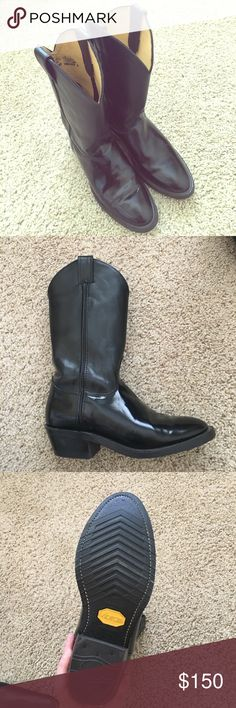 Black Cowgirl Boots Super cute black cowgirl boots. Worn once, because they run small. Size 9, but fit like an 8. Justin Boots Shoes