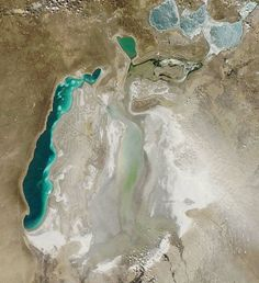 South Aral Sea, Uzbekistan: 30 years ago, this sea was the fourth-largest lake in the world. Now, Aral is 10% of its original size. The Aral is divided between the North and South Aral Seas and it is being exploited for the oil and gas in the seabeds. - Jeobox