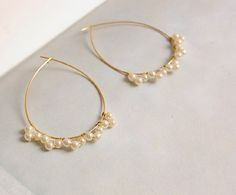 Pearl Lace Gold Tear Drop Hoop Earrings by Richbon on Etsy