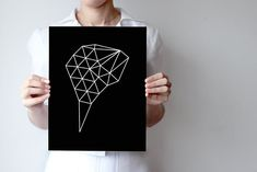 triangles1  geometric  minimalist  B&W by villavera on Etsy