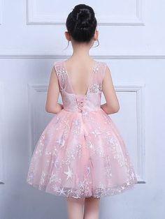 73b1f958d Embroidery Sashes Lace Mesh Round Collar Sleeveless Princess Dress