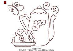 Kitchen Teapots Redwork Machine Embroidery by StitchXEmbroidery