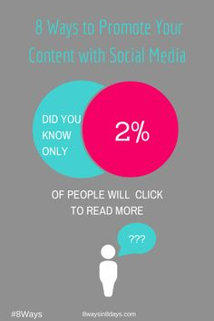 8 Ways to Promote your Content with Social Media. http://www.8waysin8days.com/8-ways-promote-content-social-media/ #8ways