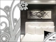 #MyLAS Welcome to this italian #home! #bedroom #design #homeinspiration #interiors http://www.laserartstyle.it/home/gallery/my-las/ ABSTRACT WALL SCULPTURES | CODE: SI-107-B | SIZE: 148x50 cm | COLOUR: white - silver application