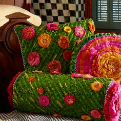 MacKenzie-Childs   Moss Meadow Square Pillow