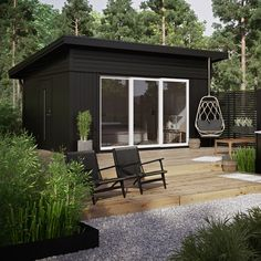 Modern Shed, Modern Tiny House, Tiny House Cabin, Backyard Office, Garden Office, Building A Container Home, Backyard Pool Designs, Weekend House, Outdoor Kitchen Design