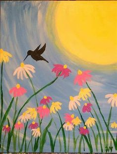 spring and summer easy canvas acrylic paintings - Bing Summer Painting, Easy Canvas Painting, Simple Acrylic Paintings, Easy Paintings, Diy Painting, Painting & Drawing, Painting Classes, Hummingbird Painting, Small Canvas Art