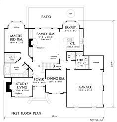 First Floor Plan of The Longworth - House Plan Number 362---needs modification but could work