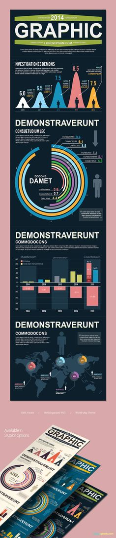 Awesome PSD template for Infographics with beautiful charts, graphs and vector elements for financial & product stats. Infographic Templates, Psd Templates, Infographics, Light Blue Color, Awesome, Amazing, Charts, Sage, Finance