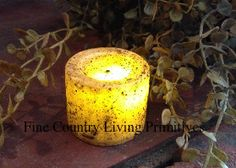 Primitive ~ Colonial ~ Battery Operated Votive LED Candle ~ Ivory