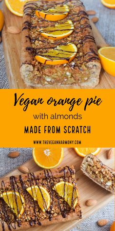 If you love oranges, you have to try this delicious pie with crunchy almond filling! Divine pie with a juicy and crunchy orange-almond filling is one of our favourite desserts this part of the year. Oranges are just the perfect autumn-winter fruit, full of vitamins that strengthen the immune system in cold days. Healthy Cake, Healthy Food, Healthy Eating, Eggless Baking, Vegan Baking, Vegan Pie, Raw Vegan, Veggie Meals, Veggie Recipes