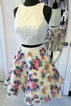 Two Piece Prom Dress,Round Neck Dress,Short Dresses,Ivory Dress,Printed Dress,Short Homecoming Dress,Homecoming Dress 2K17,Dresses For Teens
