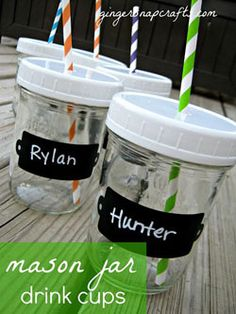 Mason Jar cups with lids and names on them! we need to make these