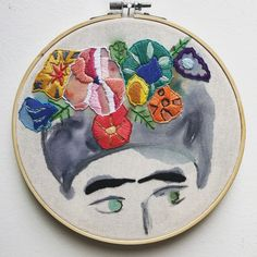 Frida Kahlo embroidery. Watercolor mix media