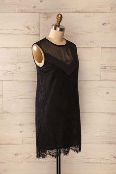 Huesca - Black lace and mesh diaphanous shift dress