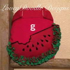 Watermelon applique ruffled gdiaper by loveydoodle on Etsy